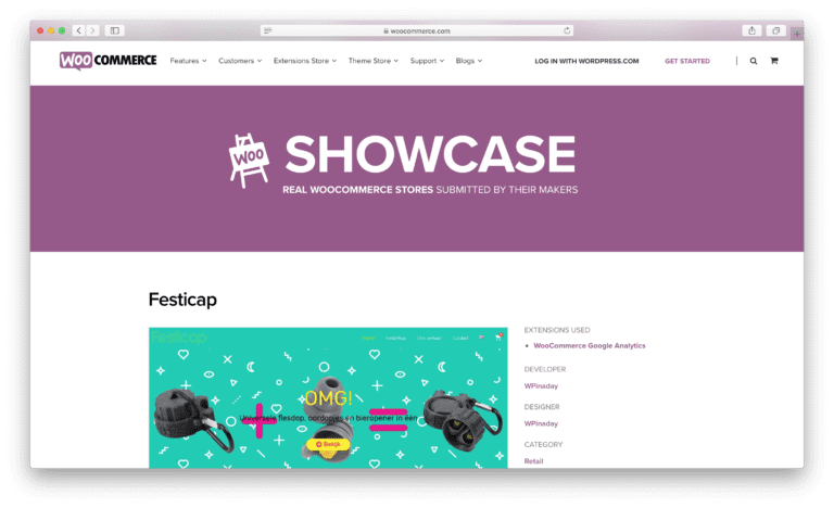 WooCommerce showcase Festicap