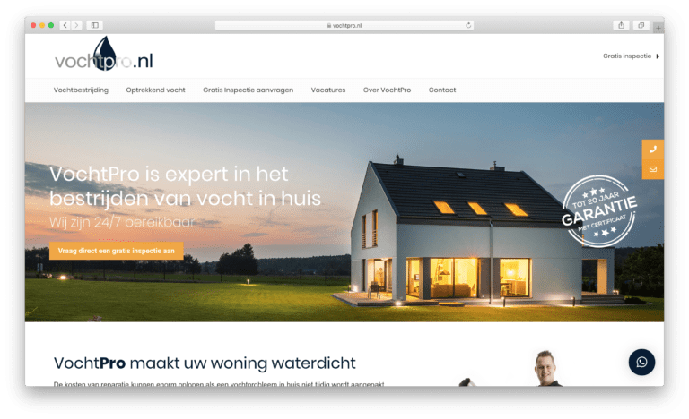 VochtPro - WordPress website