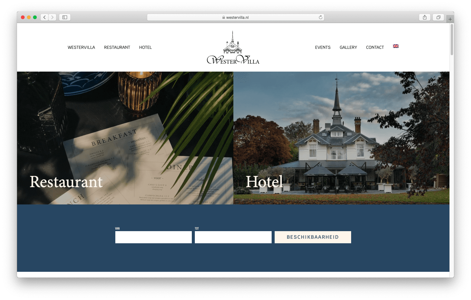 Website voor hotel en restaurant